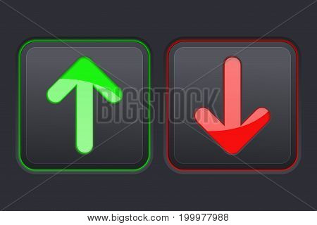 Up and Down square black buttons with green and red arrows. Vector illustration