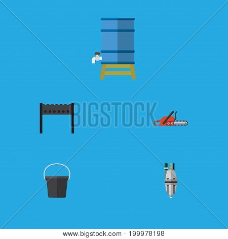 Flat Icon Farm Set Of Hacksaw, Pail, Pump And Other Vector Objects