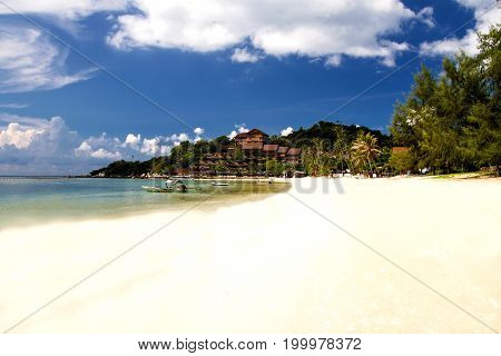 Tropical beach with sea blue sky Andaman Sea thailand