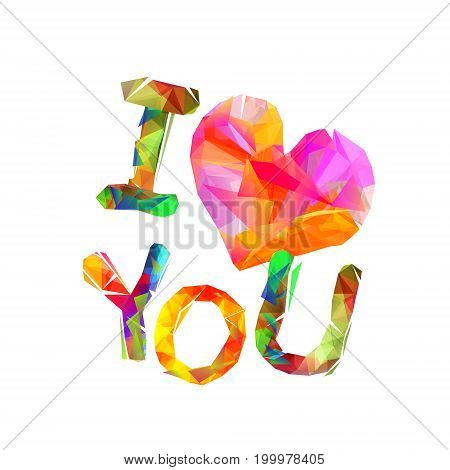i love you. Vector inscription of triangular letters