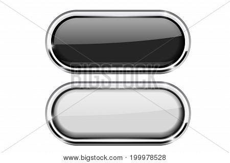 Black and white oval buttons with chrome frame. Vector 3d illustration isolated on white background
