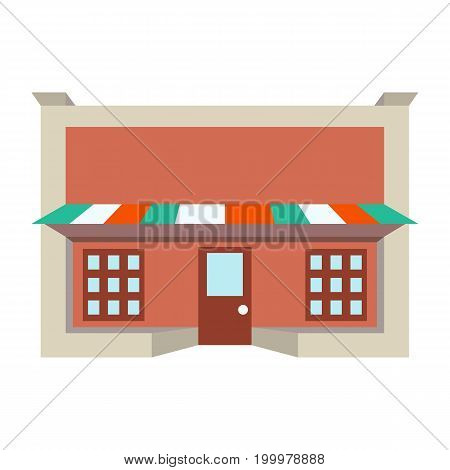 Store shop front window building color flat icon