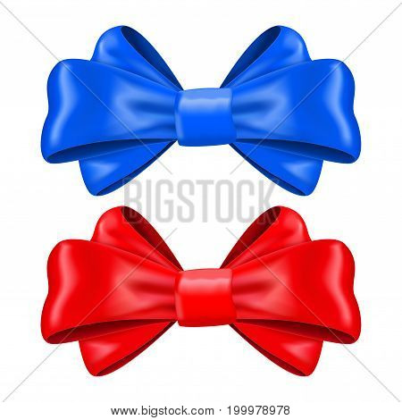 Red and blue silk ribbon bows. Decoration element. Vector 3d illustration isolated on white background