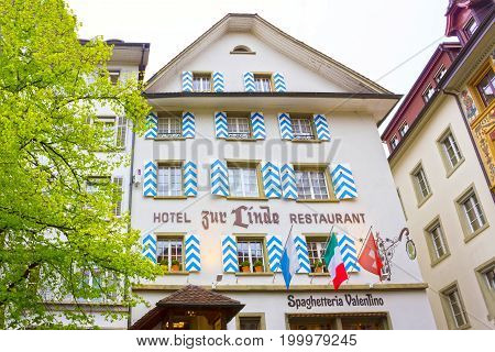 Lucerne, Switzerland - May 02, 2017: The old house in Lucerne, Switzerland on May 02 2017