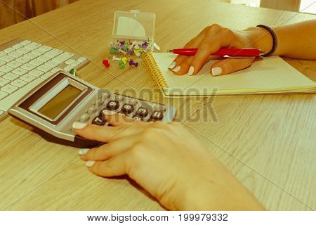Young woman working in office sitting at desk using computer. Business executive woman at workplace. Businesswoman Calculating Tax At Desk In Office - Retro color