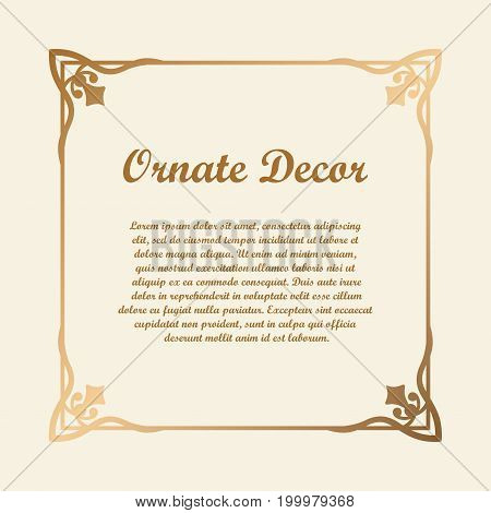Vector Decorative Element For Design. Frame Template With Place For Text. Fine Floral Ornamental Bor