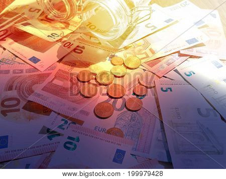 Euro Banknotes As A Background, A Lot Of Cash, Coins, Concept, Economy Growth, Currency, Crypto Curr
