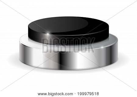 Black push button with metal base. Vector illustration isolated on white background