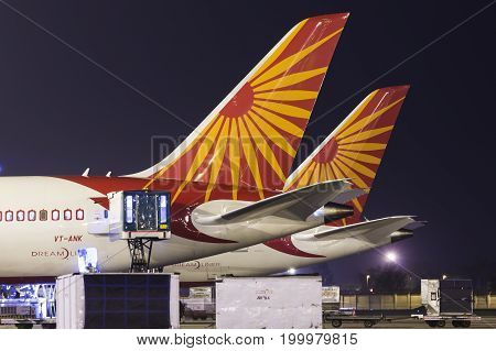 New Delhi, India 30 May 2014 - Air India Boeing 787 Dreamliner at their hub at Terminal 3 Indira Gandhi International Airport