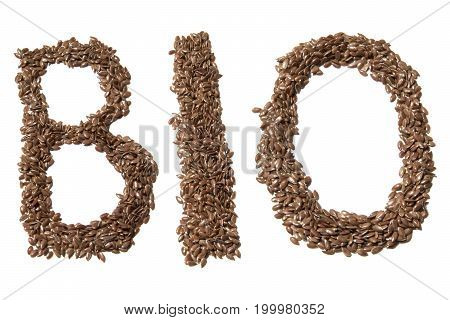 Linseed  Bio Sign Photo. Beautiful Picture, Background, Wallpaper