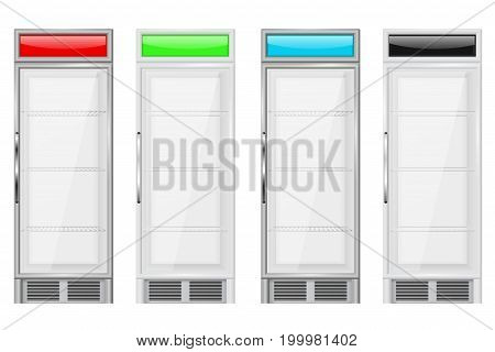Display refrigerator. Merchandise fridge. Colored set. Vector illustration isolated on white background