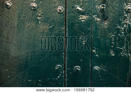 Green old door texture or background. Copy space for text