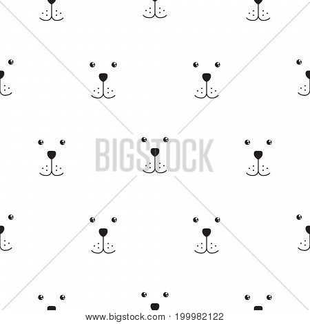Dog muzzle scandinavian seamless vector simple pattern. Black and white puppy head breed background for textile fabric print and wallpaper.