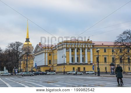 SAINT- PETERSBURG RUSSIA - FEBRUARY 01 2016: Building of Admiralty in the historical center of Saint Petersburg Russia