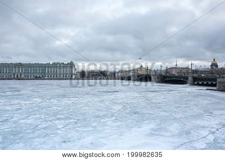 The Winter Palace and Palace bridge in Saint Petersburg Russia