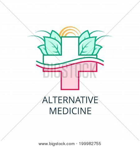 Vector Icon Style Logo Sign of Alternative Medicine. IV Vitamin Therapy, Anti-Aging, Wellness, Ayurveda, Chinese Medicine. Holistic centre. Green Energy Tree