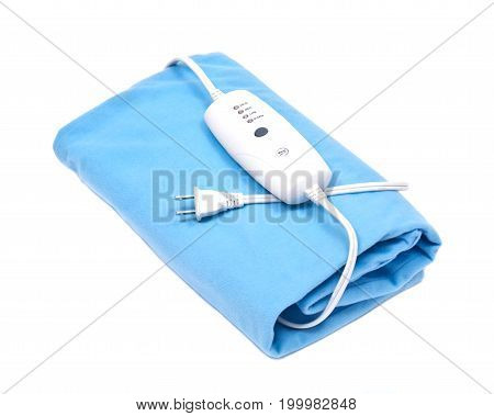 Blue electric heating pad isolated on white background