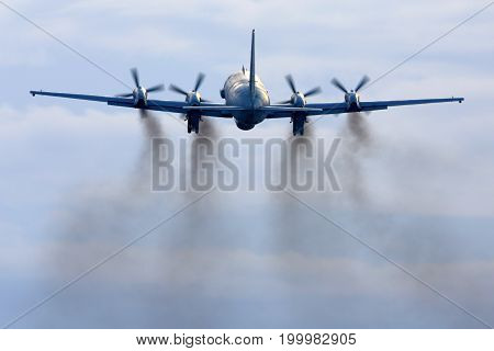Kubinka, Moscow Region, Russia - February 19, 2014: Ilyushin Il-20M RF-93610 reconnaissance airplane takes off at Kubinka air force base.