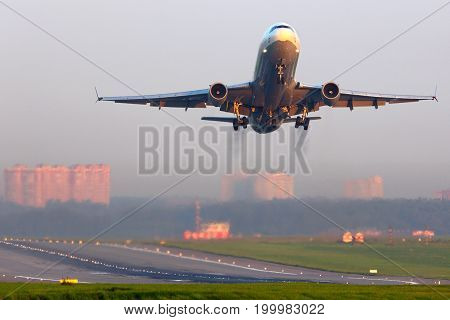 Sheremetyevo, Moscow Region, Russia - July 10, 2014: McDonnell Douglas MD-11F D-ALCN Lufthansa Cargo takes off at Sheremetyevo international airport.