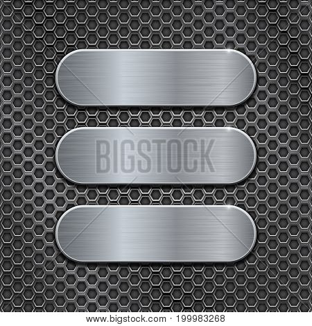 Metal brushed plates on perforated background. Vector 3d illustration