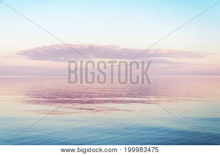 pink color sunset over sea
