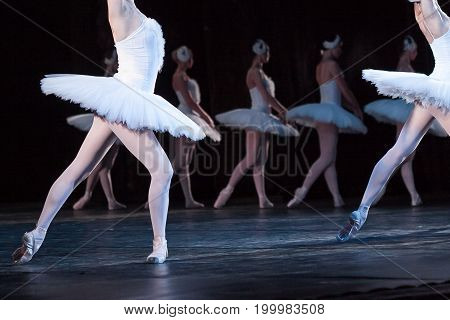 ballet, entertainment, art concept. light and weightless caucasian ballerinas wearing radiant dresses with tutu and feathers in their hair are dansing on the dark stage of the theater