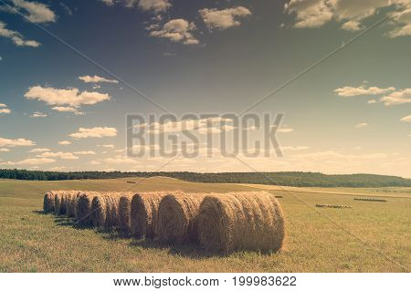 Beautiful landscape with straw bales in end of summer Horizontal