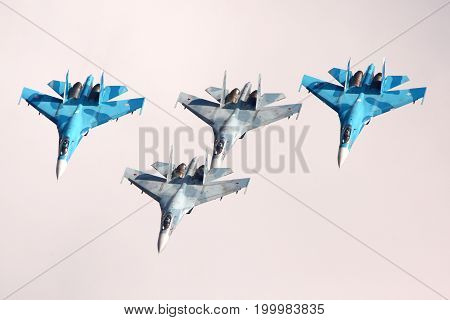 Zhukovsky, Moscow Region, Russia - August 10, 2012: Formation of four Sukhoi Su-27 shown at 100 years anniversary of Russian Air Forces in Zhukovsky.