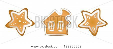 Gingerbread cookies with a glaze. Homemade pastries with spices. Isolated on white background without shadow. A set of Christmas cookies. / Little house stars /