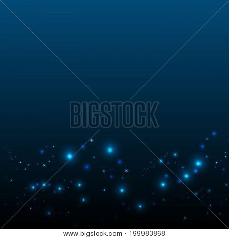 Blue background with lights and stars. The radiance in the night sky. Christmas background.
