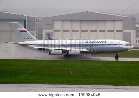 Sheremetyevo, Moscow Region, Russia - September 12, 2010: Ilyushin IL-86 RA-86124 of Donavia airlines reversing at Sheremetyevo international airport.
