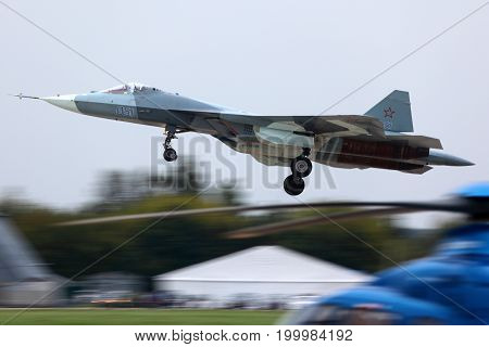 Zhukovsky, Moscow Region, Russia - August 30, 2013: Sukhoi T-50 PAK-FA 52 BLUE in Zhukovsky during MAKS-2013