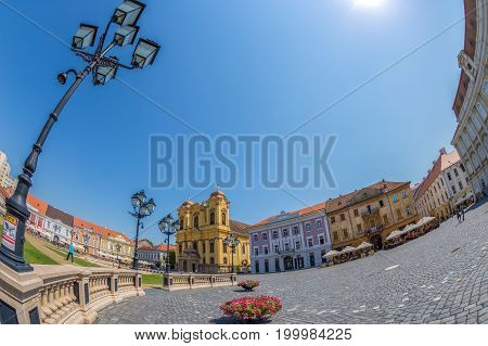 TIMISOARA ROMANIA - AUGUST 16 2017: View of one part at Union Square in Timisoara Romania with old buildings and german Dome.