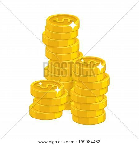 Stack gold dollars isolated cartoon. Bunches of gold dollars and dollar signs for designers and illustrators. Gold stacks of pieces in the form of a vector illustration