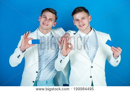 Men Holding Blank Cards With Ok Gestures