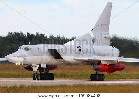 Zhukovsky, Moscow Region, Russia - July 5, 2013: Tupolev Tu-22M3 9804 Black of Russian Air Force at Zhukovsky