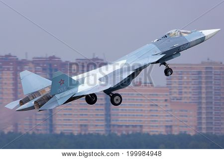 Zhukovsky, Moscow Region, Russia - August 29, 2015: Sukhoi T-50 PAK-FA 054 BLUE of russian air force perfoming demonstration flight in Zhukovsky during MAKS-2015 airshow.