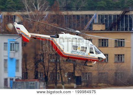 Zhukovsky, Moscow Region, Russia - November 10, 2013: MBB Kawasaki BK.117 of Ministry of Emergency Situations of Russia RF-32763 helicopter at Zhukovsky.
