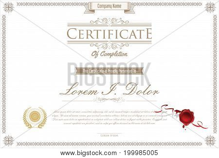 Certificate Or Diploma Retro Design Template Vector Illustration 4.eps