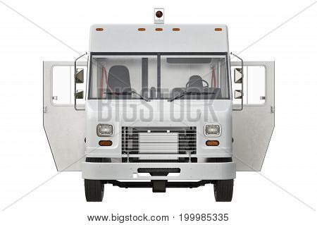 Van car open door, front view. 3D rendering