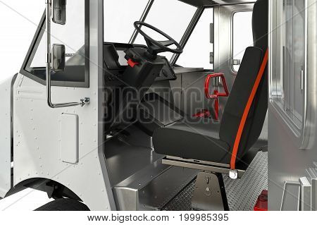 Van car cabin open door, close view. 3D rendering