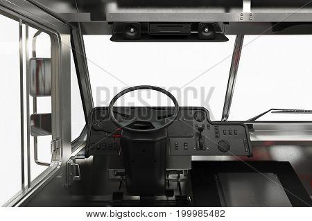 Van interior dashboard steering, close view. 3D rendering