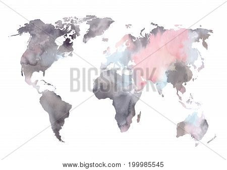 Watercolor Vector Illustration. Colorful World Map. Perfect For Wedding Invitations, Greeting Cards,