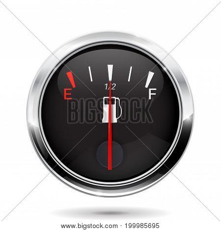 Fuel gauge. Half tank. Vector 3d illustration on white background