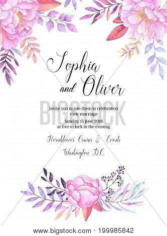 Hand Drawn Watercolor Illustration. Wedding Invitation With Leaves, Branches And Flowers. Watercolor
