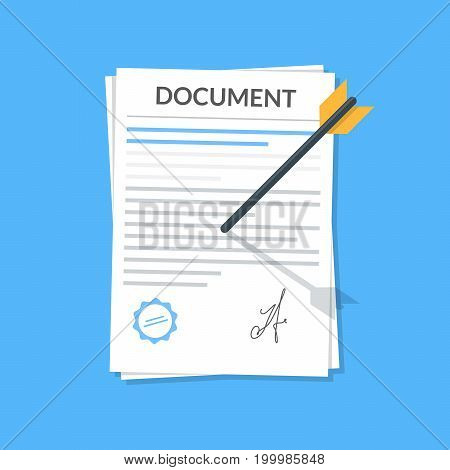 Business document attached by an arrow to the wall. Icon in the flat style of the attached file Concept vector icon for mobile application or web site. Vector illustration isolated on blue background