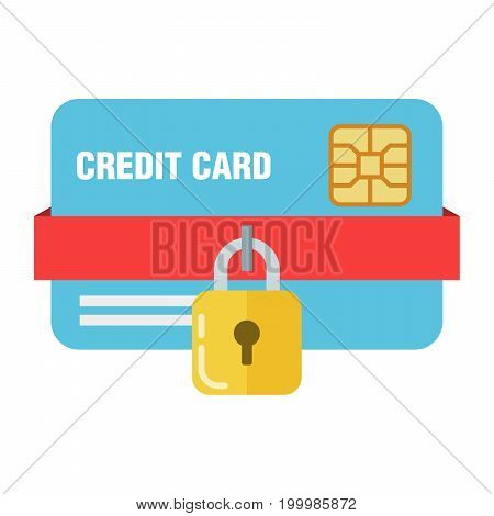 The concept of bank or credit card protection. Padlock on a plastic card. The safety of your money.