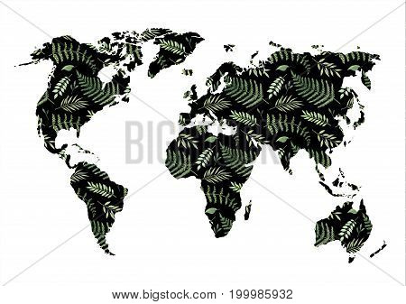 Watercolor Illustration. Black World Map With Floral Design Elements. Watercolor Abstract Background