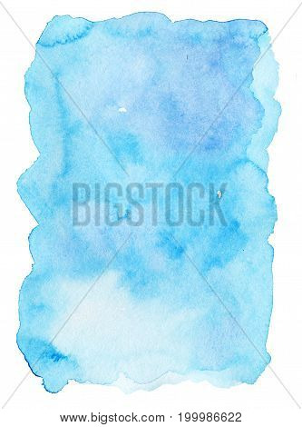 Hand painted bright blue watercolor texture on white background