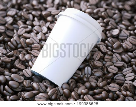 White takeaway cup in the brown coffee beans. 3d rendering